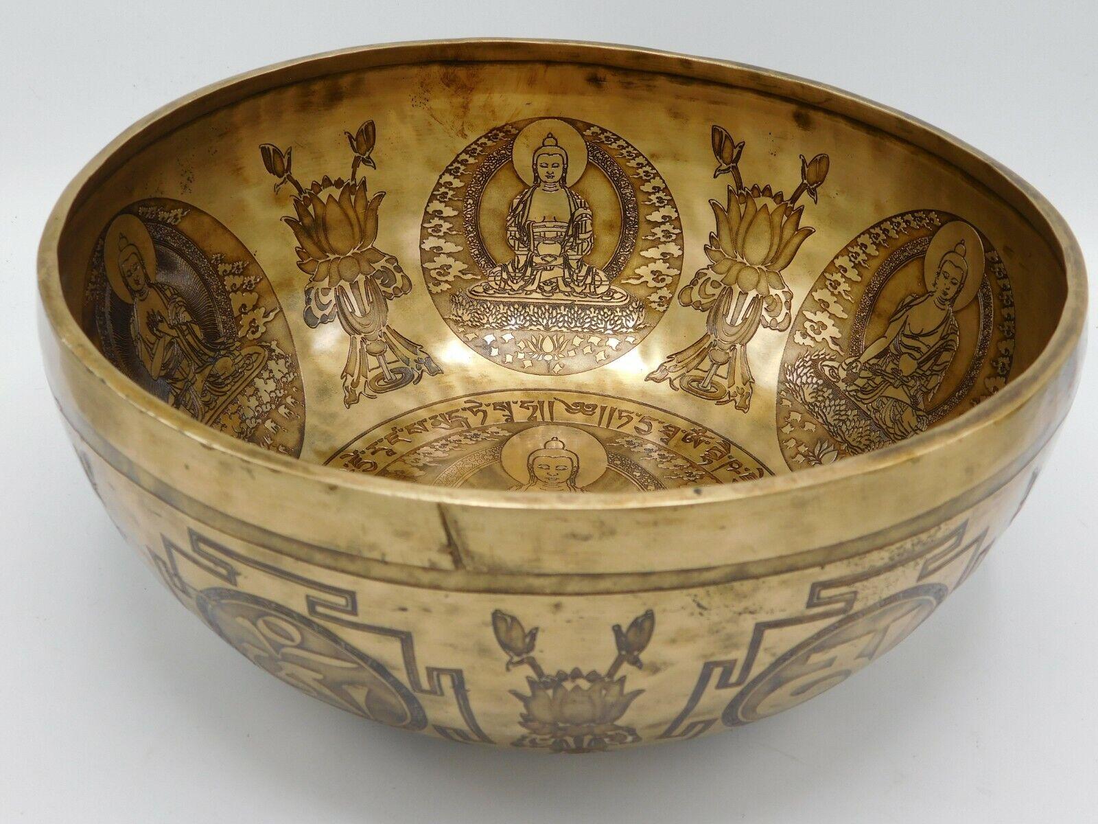 12 inch Buddha in-carve singing bowl - Tibetan bowl for meditation, yoga healing
