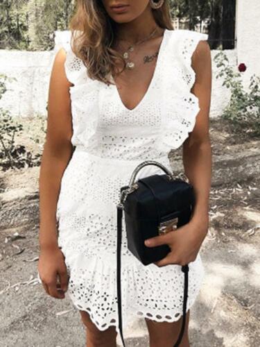 Elegante vestito abito slim  bianco pizzo  ginocchio scampanato morbido 5091