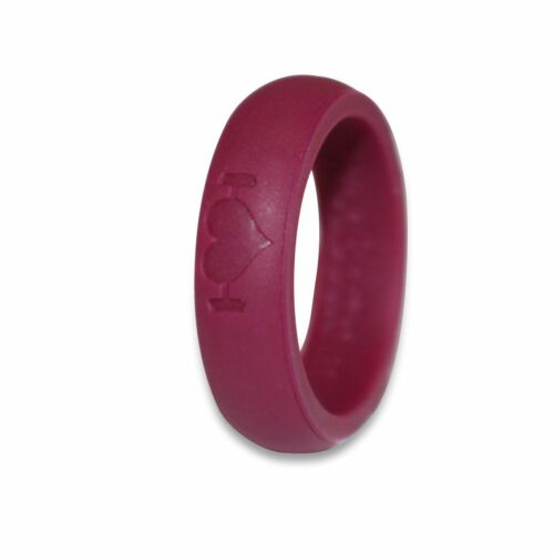 Plum Silicone Wedding Rings for Women, Bands Perfect for Crossfit, Fitness, WODs