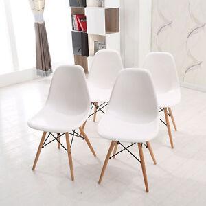 4-Stueck-Stuhl-Wohnzimmerstuhl-Esszimmerstuhl-Kunststoff-Buerostuhl-Weiss-Chair-Set