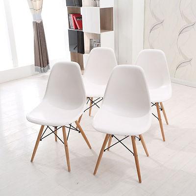 4 × White Eames Eiffel style Wooden DSW Dining Chair wood Retro Panton Designer