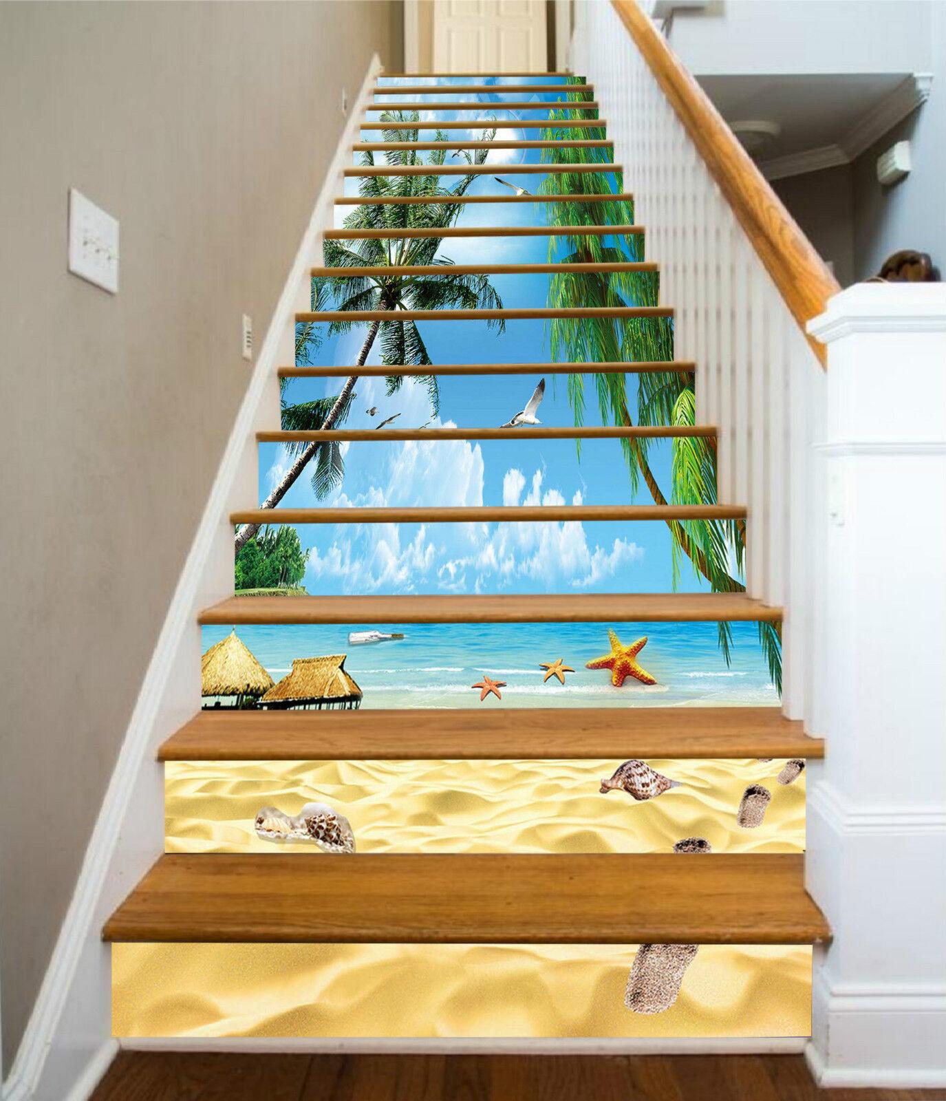 3D Schn Strand 693 Stair Risers Dekoration Fototapete Vinyl Aufkleber Tapete DE
