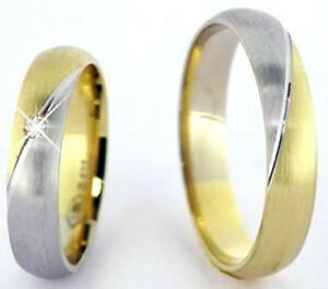 Ausgefallene Eheringe Trauringe 585 Gold 14 Kt Gelb Weissgold