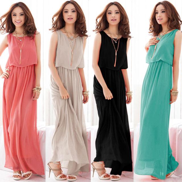 2015 Summer Women Chiffon Dress Sleeveless Party Evening Beach Long Maxi Dress