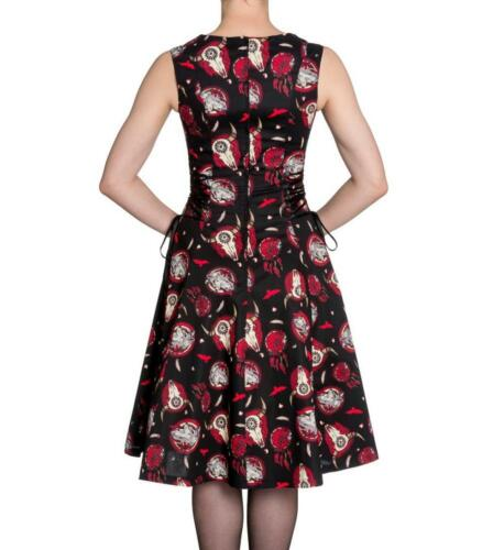 BLACK /& RED DREAM-CATCHER WOLF LACED UP DRESS NATIVE AMERICAN XS S M L XL NEW