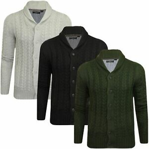 Brave-Soul-Shawl-Neck-Mens-Cable-Knitted-Cardigan-Buttoned-Sweater-Winter-New