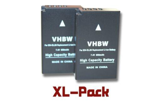 2x Akku wie Nikon EN-EL20 850mAh 7.4V Li-Ion