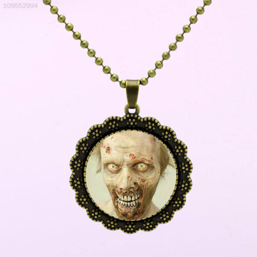 DAC7 Vintage Zombie The Walking Dead Bronze Glass Pendant Necklace Jewelry Gift