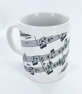 Black and White Music Notes Coffee or Tea Mug, 10 oz, NEW, Musical Theme Mug
