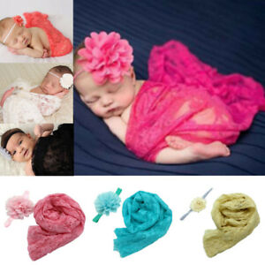 Newborn Lace Embroidery Baby Photography Wraps Blanket Props Scarf with Headband