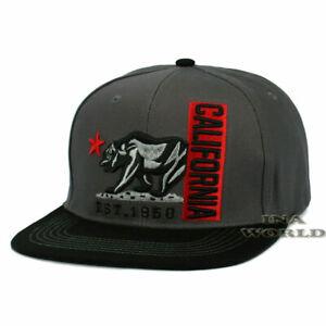 California Republic Hat Cali Classic Bear Logo Snapback Flat Bill Baseball Cap