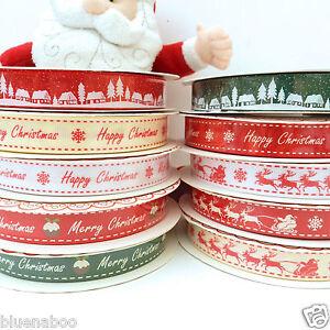 Ensoleillé Par Mètre Berties Arcs Noël Rubans 16mm Large Joyeux Noël Cerfs Traîneaux-afficher Le Titre D'origine