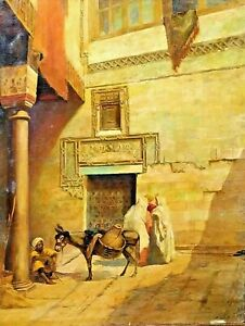 Scene-orientalist-oil-on-canvas-lined-signed-f-Audet-France-nineteenth