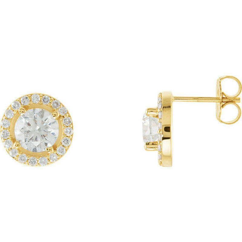Diamond Halo-Styled Earrings In 14K Yellow gold (1 9 10 ct. tw.)