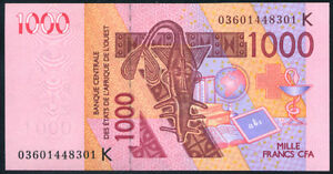 Dedicated West African Senegal 1000 Francs 2003 Other African Paper Money P 715ka Uncirculated Notes Clients First