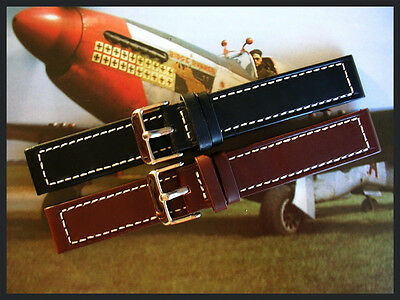 20mm XL Black D Brown Oily Chrono sport Military watchband Pilot strap IW SUISSE