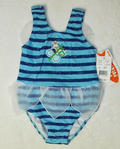 NWT 2T SWEET POTATOES Aqua /& Blue Striped Butterfly Wings /& Skirted 1pc Swimsuit
