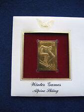 1994 Winter Games Alpine Skiing replica 22kt Gold Golden Cover FDC FDI Stamp