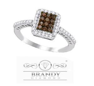 Ct 10k Bague47 Diamant® Blanc Marron Détails Chocolat Or Émeraude Auréole Sur Brandy xQrsdtCh