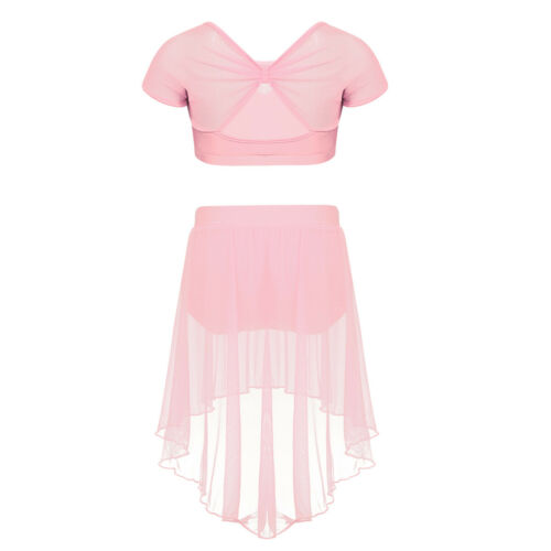 Kid Girls Spirit Praise Lyrica Dance Outfit Crop Top+Mesh Skirt Ballet Dancewear