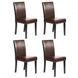 dining chairs contemporary leather. image is loading set-of-4-brown-leather-contemporary-elegant-design- dining chairs contemporary leather