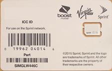 Sprint Boost Virgin Mobile Nano SIM Card ICCID SIMGLW446C