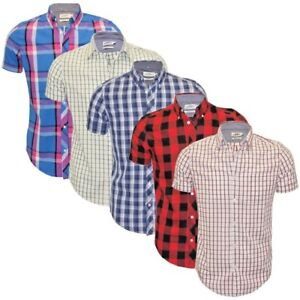Ex-Chainstore-Next-Men-039-s-Short-Sleeve-Check-Cotton-Summer-Casual-Shirt-Tops