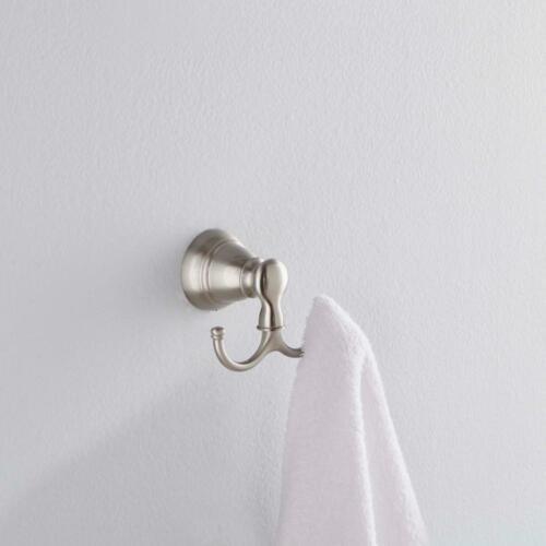 Details about  /MOEN Robe Hook Double Wall Mounted Screw In Hanger Hardware Zinc Classic Nickel