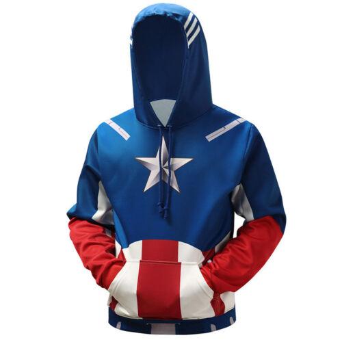 Marvel Captain America Men/'s Hoodie 3D Shield Printing Hooded Sweatshirt Coats