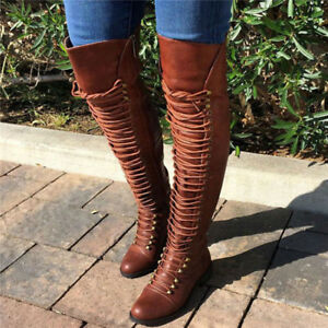 585a9e8e4a1f8 Women Over the Knee Boots Lace Up Bandage Thigh High Combat Low Heel ...