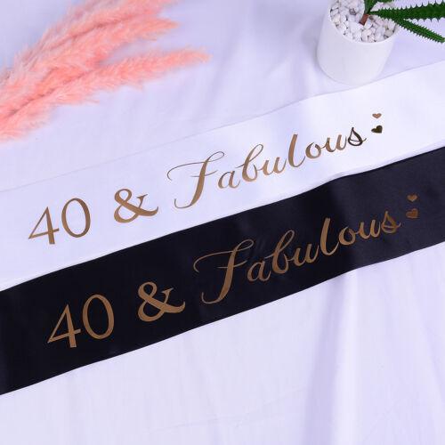 40Fabulous Glitter Satins Sash Happy 40th Birthday Sash for Birthday Supplies WF