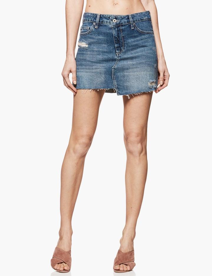 169 Paige Denim Afia Charity Wash Uneven Step Hem Jeans Mini Skirt 32
