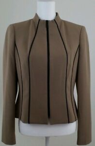 KASPER-Women-039-s-Size-4-Brown-Black-Zip-Up-Blazer-Jacket-Career-Office-Wear