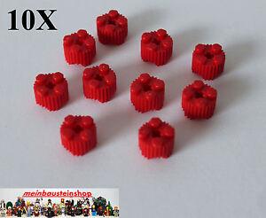 10X-Lego-92947-runde-Steine-mit-Profil-Riffel-Rillensteine-2X2-Rot-Red