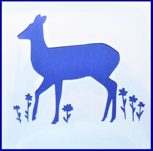Flexible Stencil *FOREST DEER* Flowers Meadow Woodland Card Making 14cm x 14cm