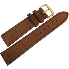 18mm Fluco Rust Brown Suede Leather GOLD Buckle German Made Watch Band Strap