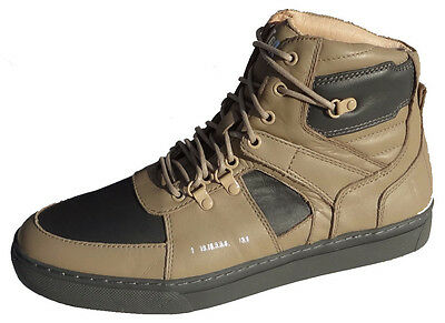 Men's Basket Ball Leather Mid-Top Sneaker- Color: Khaki  Size: 7-13