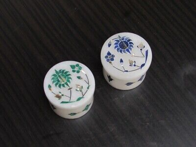 2x2 Marble White Jewelry Boxes Ring Box Malachite Multi Semi Precious Stone Marquetry Inlay Gifts For Her