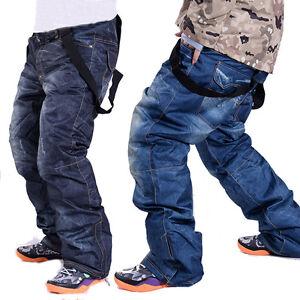 Waterproof-Men-039-s-Denim-Ski-Pants-Snowboard-Windproof-Warm-Jeans-Snow-Trousers