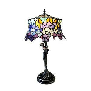 Wisteria-Stained-Glass-Table-Lamp-Tiffany-Style-Shade-13-034-W-with-Woman-Base
