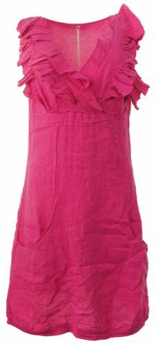 New Womens Italian Frill Bust Linen Panelled Layer Sleeveless Vest Ladies Dress