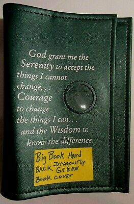 Alcoholics Anonymous AA Big Book Cover Serenity Prayer /& Medallion Holder Black