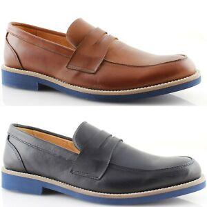 Mocassini-Uomo-Eleganti-College-vera-pelle-blu-cuoio-scarpe-Made-in-Italy-471
