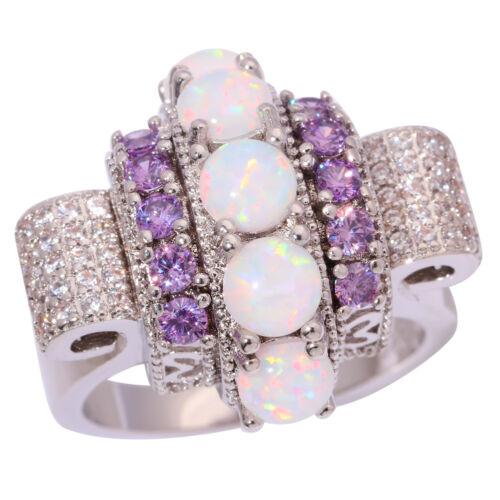 White Fire Opal Amethyst Zircon Silver Women Jewelry Gems Ring Taille 7 8 9 OJ9109