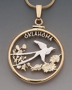 Oklahoma-U-S-State-Coin-Pendant-Necklace-Hand-cut-7-8-034-diameter-2046