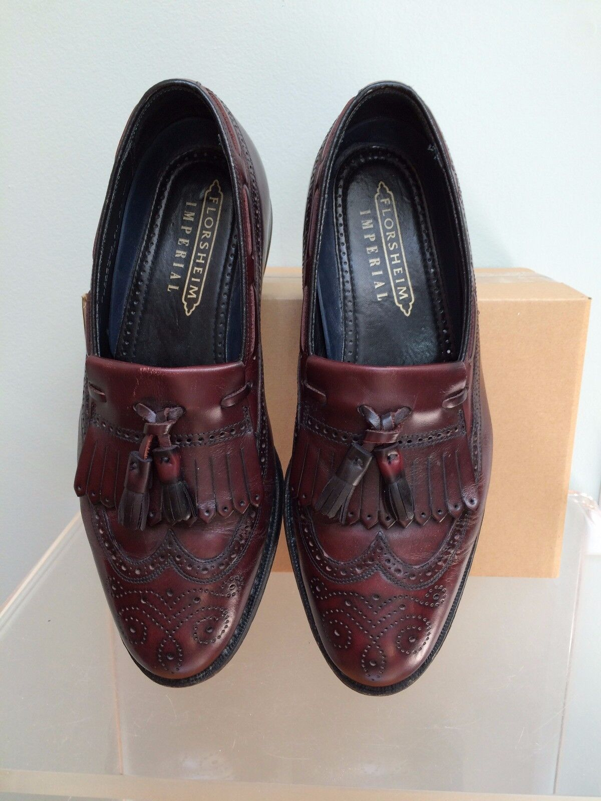 9 D Florsheim Imperial Brown Tooled Leather Kiltie Tassel Wing Tip Loafers