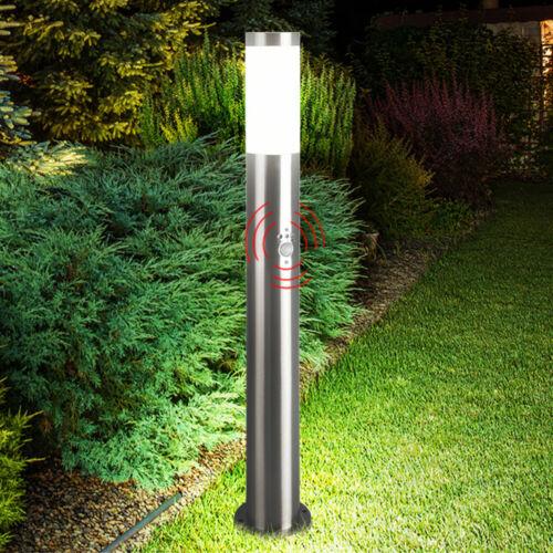 PIANTANA da giardino Lampada rilevatore di movimento illuminazione esterno Acciaio inox Lampada Cortile ARGENTO