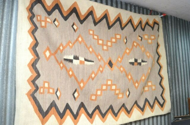 Navajo Historic Crystal Rug Diamond Step Antique 73x53 Native American Old Large