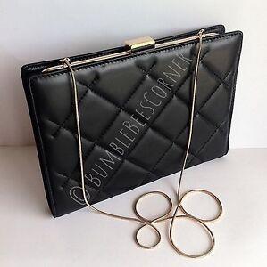 3b5226f42ee CAROLINA HERRERA  JEWEL  Black QUILTED LEATHER Chain Clutch Bag CH ...