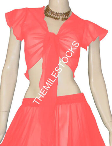 Dark Teal 25 Color TMS Ruffle Wrap Top Tie Belly Dance Choli Short Gypsy